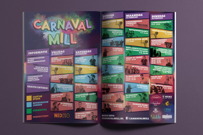 Carnaval Mill – Advertentie/Programma